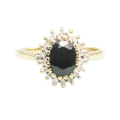 Second Hand 9ct Gold Sapphire and Diamond Cluster Ring