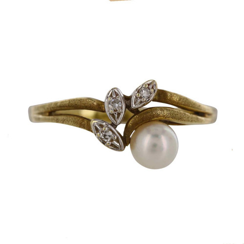 Second Hand 9ct Gold Pearl and Diamond Dress Ring