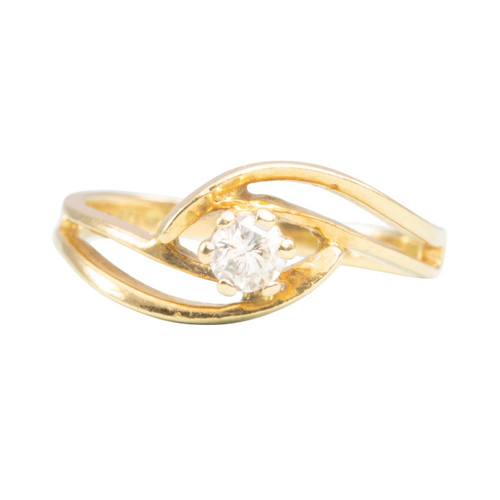 Second Hand 18ct Gold Diamond Twist Design Solitaire Engagement Ring