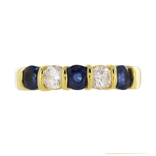Second Hand 18ct Gold Sapphire and Diamond 5 Stone Ring