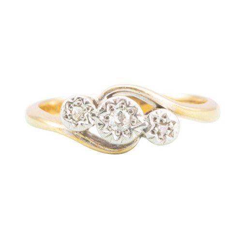 Vintage 18ct Gold Twist Design 3 Stone Diamond Ring