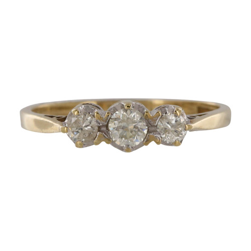 Pre Owned 9ct Gold Diamond 3 Stone Ring