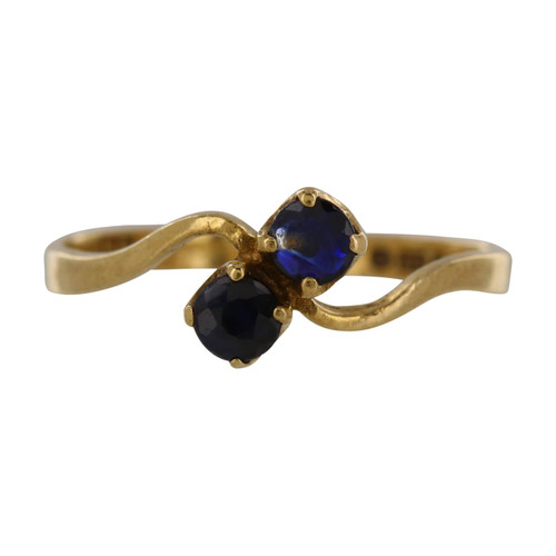Second Hand 9ct Gold Two Stone Cross Over Sapphire Ring