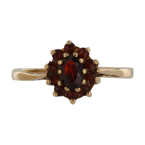 Second Hand 9ct Gold Garnet Cluster Ring
