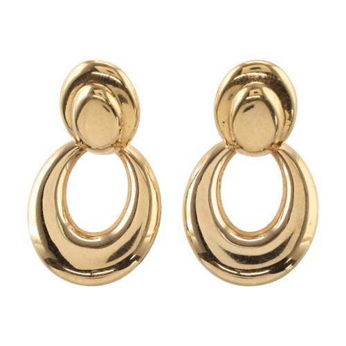 Pre Owned 9ct Gold Wide Drop Earrings