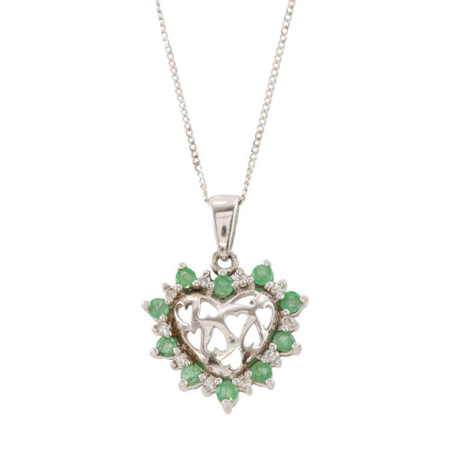 Second Hand 9ct Gold Emerald & Diamond Heart Pendant & Chain