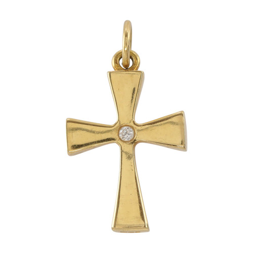 Front Image of Pre Owned 18ct Gold Diamond Cross Pendant