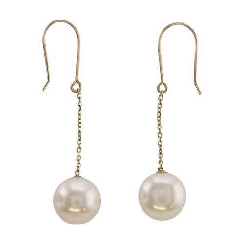 Second Hand 9ct Gold Single Cultured Pearl Drop Earrings