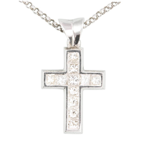 Second Hand 18ct White Gold Diamond Cross and Chain