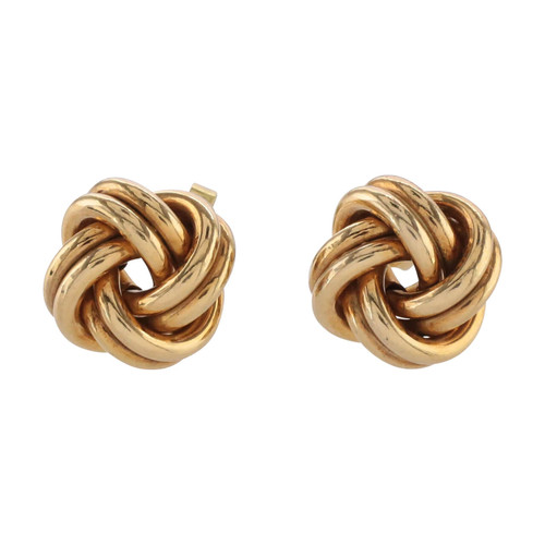 Front Image of Second Hand 9ct Gold Knot Earrings