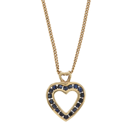 Front Image of Second Hand 9ct Gold Sapphire Heart Pendant and Chain