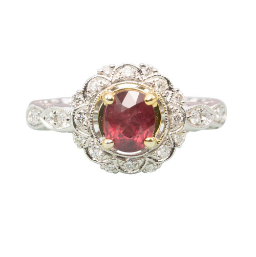 Second Hand 14ct Gold Ruby & Diamond Cluster Ring