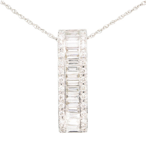Second Hand 14ct White Gold Baguette Diamond Pendant
