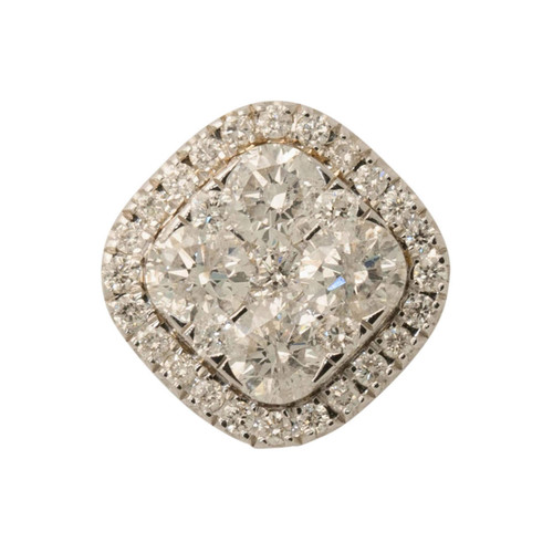 Main Image of Pre Owned 14ct White Gold Square Diamond Pendant
