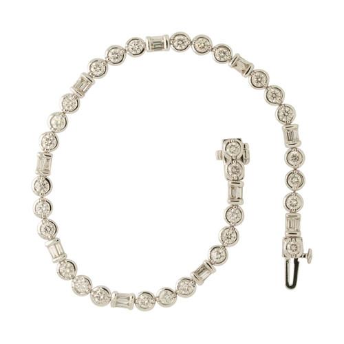 Main Image of Pre Owned 14ct White Gold 3 Carat Diamond Bezel Set Bracelet