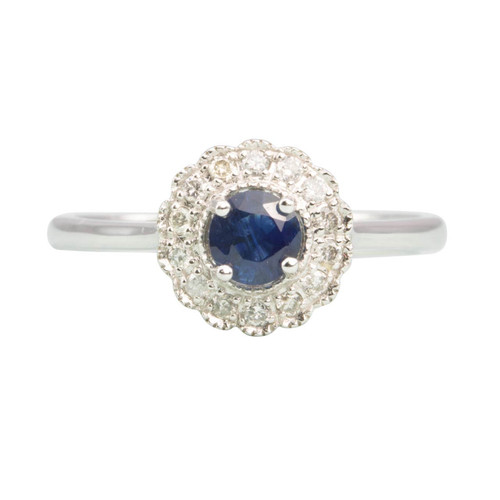 Second Hand 10ct White Gold Sapphire & Diamond Cluster Ring