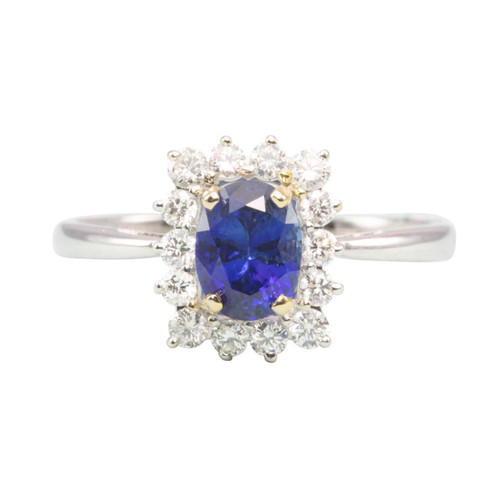 Second Hand 18ct Gold Oval Sapphire & Diamond Cluster Ring