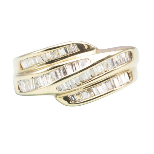 Second Hand 14ct Yellow Gold Baguette Diamond Dress Ring