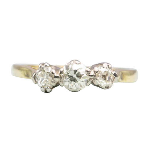Antique 18ct Gold 3 Stone Old Cut Diamond Ring