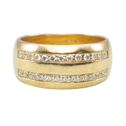 Second Hand 18ct Gold Wide Diamond Set Band