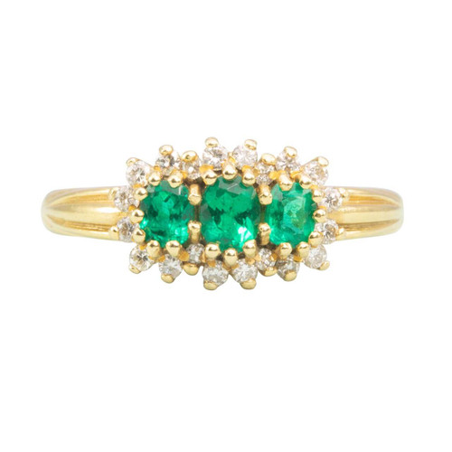 Second Hand 18ct Gold Emerald & Diamond Triple Cluster Ring