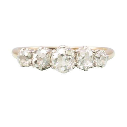 Vintage 18ct Gold 5 Stone Old Cut Diamond Ring
