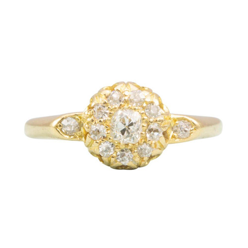 Vintage 18ct Yellow Gold Old Cut Diamond Cluster Ring