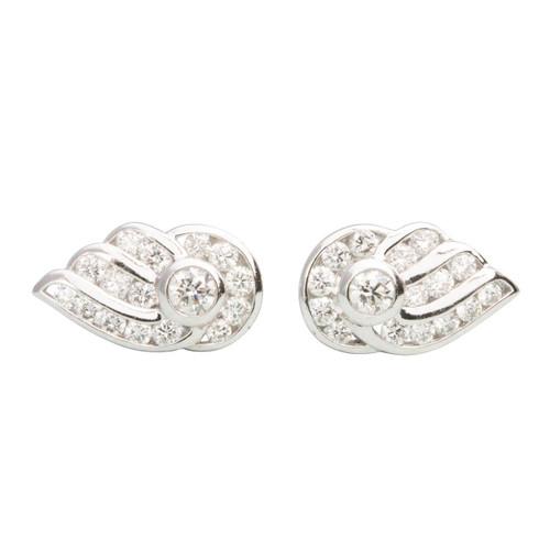 Second Hand Platinum Wing Design Diamond Earrings