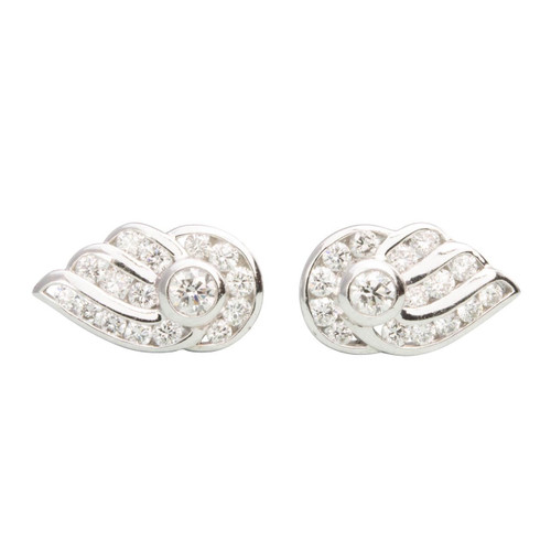 Second Hand Platinum Wing Design Diamond Earrings