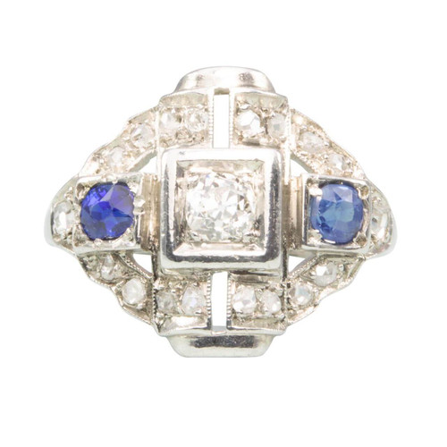 Vintage Art Deco 18ct Gold Sapphire & Diamond Ring