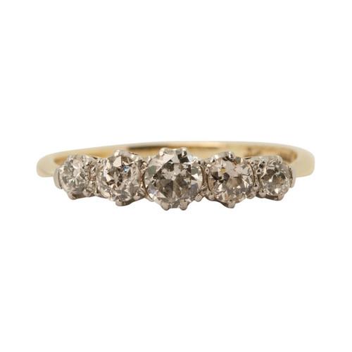 Vintage 18ct Gold 0.6 Carat 5 Stone Diamond Ring