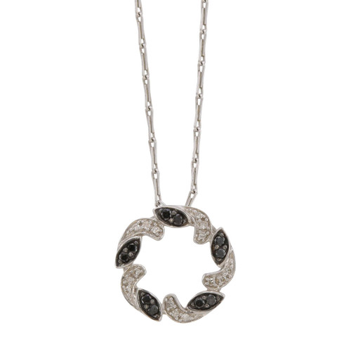 Front Image of Second Hand 9ct Gold Black & White Diamond Pendant and Chain