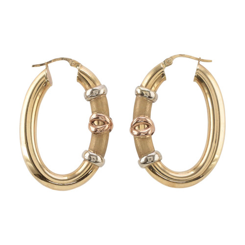 Second Hand 9ct Gold Three Colour Rose Gold Oval Hoop Earrings