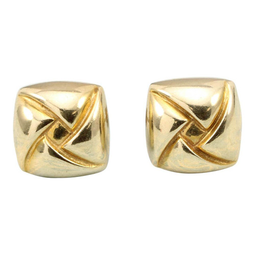 Second Hand 9ct Gold Square Stud Earrings