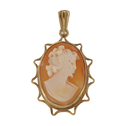 Front Image of Second Hand 9ct Gold Cameo Pendant