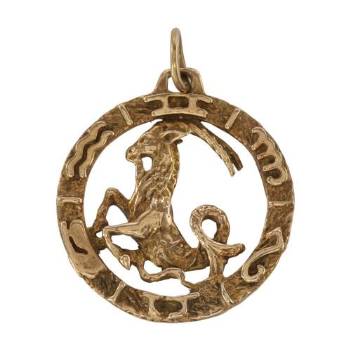 Front Image of Vintage Gold Sagittarius Pendant