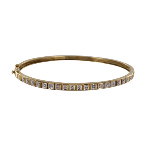 Pre Owned 9ct Gold Diamond Bangle