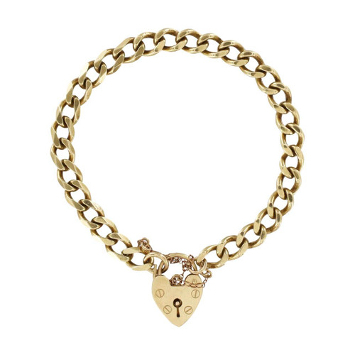 Second Hand 9ct Gold Flat Curb Charm Bracelet with Heart Lock