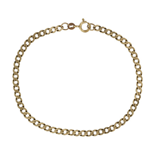 Image of Pre Owned 9ct Gold Flat Curb Bracelet