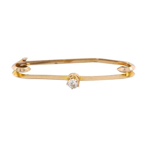 Second Hand 9ct Gold Diamond Bar Brooch