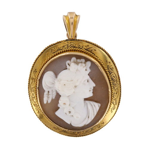Image of Vintage 9ct Gold Cameo Brooch / Pendant