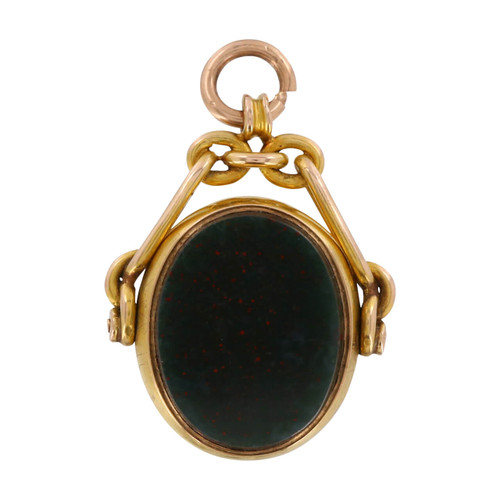 Image of Antique 15ct Gold Carnelian & Bloodstone Fob