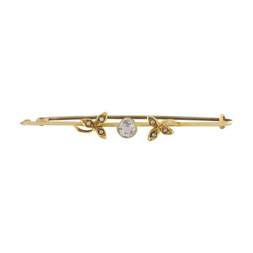 Vintage 15ct Gold Aquamarine & Seed Pearl Bar Brooch