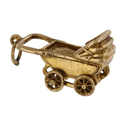 Vintage 9ct Gold Pram Charm