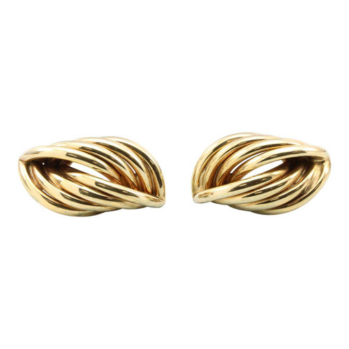 Second Hand 9ct Gold Elongated Reed Twist Earrings