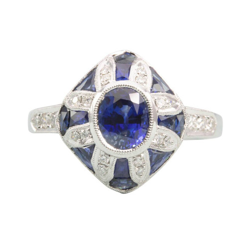 Second Hand 18ct Gold Sapphire & Diamond Art Deco Style Ring