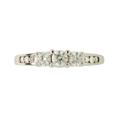 Second Hand 14ct White Gold 3 Stone Diamond Trilogy Ring