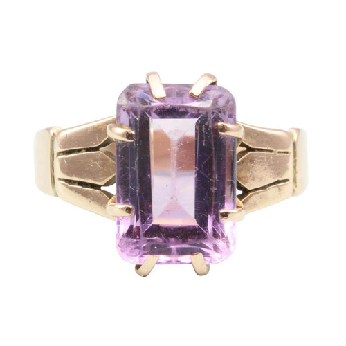 Vintage 9ct Rose Gold 5 Carat Amethyst Dress Ring