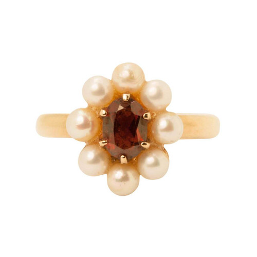 Second Hand 9ct Gold Garnet & Pearl Cluster Ring