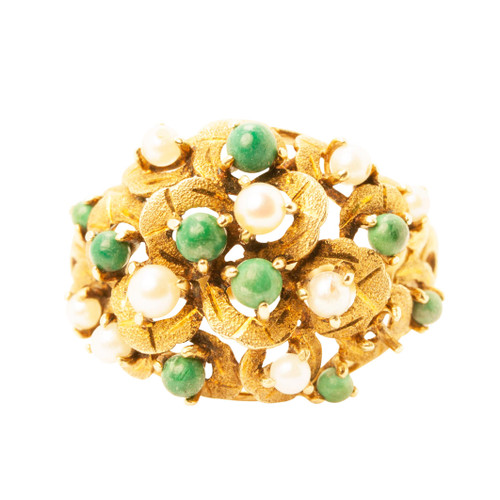 Second Hand 18ct Gold Turquoise & Pearl Bomb Ring